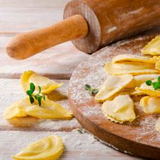 Raviolis de carn amb salsa de 4 formatges