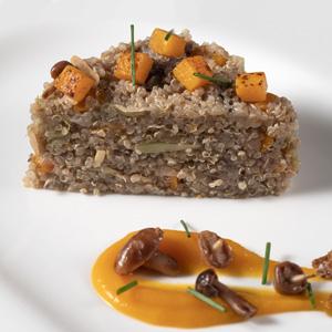 Quinoa amb carbassa i bolets silvestres